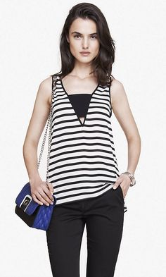 STRIPED DEEP V BANDEAU TANK | Express