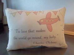Airplane pillow handmade baby girl gift by SweetMeadowDesigns