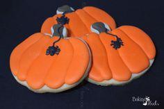 Pumpkin Cookies With Hanging Spider Halloween by Bakinginheels
