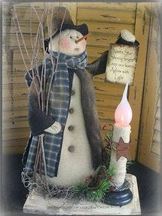Your place to buy and sell all things handmade Snowman PATTERN - Light the Way! Primitive Halloween Decor, Primitive Snowmen, Primitive Crafts, Primitive Christmas, Christmas Snowman, Christmas Ornaments, Wooden Snowmen, Country Christmas, Christmas Trees