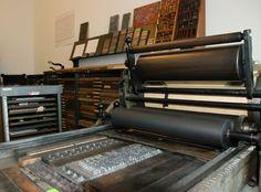 The flat-bed Vandercook printing press