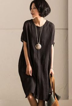 2017 Black Summer Cotton Linen Dresses Bat Sleeve Fold Women Clothes Q2061B