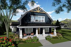 Farmhouse Style House Plan - 3 Beds 3.00 Baths 2025 Sq/Ft Plan #70-1419 Exterior - Front Elevation