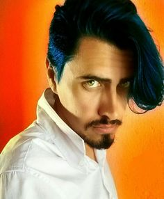 Hot colors on my background to contrast with my hair painted like ocean!