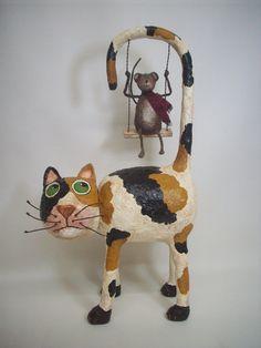 Primitivo papel Mache arte popular gato por papiermoonprimitives