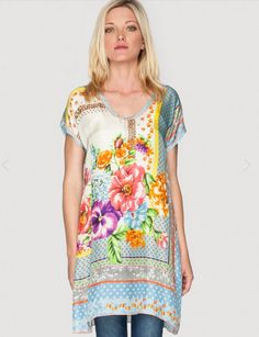 4cc95009840 The PLUS SIZE Johnny Was Signature Silk MODISCH TUNIC features a colorful  print that combines decorative geometric border elements with bold florals.