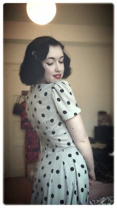 polka dot, dress, fashion, vintage, style, bob, short dark hair, summer