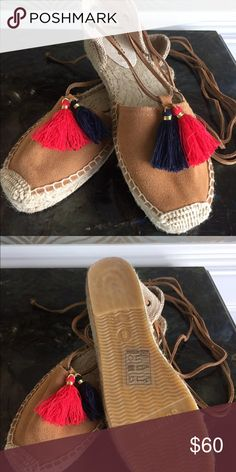 Soludos Platform Gladiator Sandal Suede leather with navy and red tassels. Laces wrap around ankle. Never been worn, so brand new for you to enjoy! Soludos Shoes Espadrilles