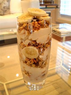 Yogurt parfait: bananas, muesli and soy yogurt. Healthy breakfast or snack idea.