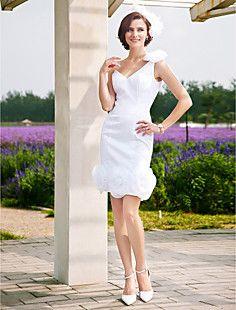 Sheath/Column One Shoulder Short/Mini Wedding Dress  – USD $ 58.99