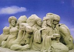 Sand sculpture nativity scene