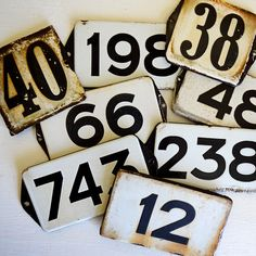 vintage enamel house numbers from Europe –available at AtticAntics, $18.50 each