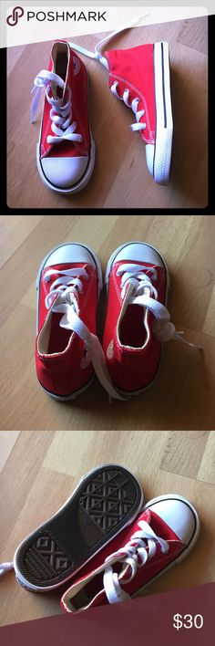 Toddler Red Converse Hi Top All Star Shoes Never been worn! True to size. Toddler size 9. Comes with original box. Converse Shoes Sneakers