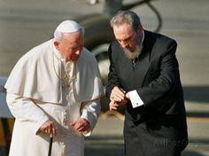 Cuban President Fidel Castro,And Pope John Paul II Photographic Print