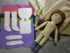 This is a picture tutorial to make a cloth doll from my Prairie Flower cloth doll pattern.  The pattern and instructions are available free on my blog at:  www.byhookbyhand.blogspot.com