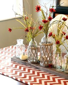I like the idea of vases/mason jars sitting on a piece of wood atop a table runner Autumn Decorating, Decorating Ideas, Decor Ideas, Chevron Table Runners, French Country Christmas, Holiday Crafts, Holiday Decor, Holiday Fun, Fall Table