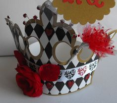 Red Queen Crown for The Queen of Hearts Alice in Wonderland whimsical Paper Crown with Roses.