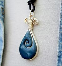 Necklace made from polymer clay - Framed in silver wire - Blue Jeans