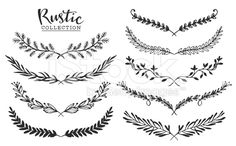 Vintage set of hand drawn rustic laurels. royalty free vintage set of hand drawn rustic laurels floral vector graphic stockvectorkunst en meer beelden van 2015 Laurel Tattoo, Nature Design, Nature Nature, Tattoo Fleur, Illustrations Vintage, Neue Tattoos, Free Hand Drawing, Free Vector Art, Floral Vector Free