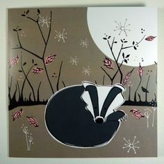 Beautiful Winter Badger card #card #christmas #illustration