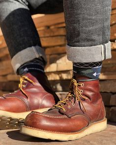 #shoes #boots #mensoutfits #menswear #fashion #mensfashion #braap Denim Boots, Cuffed Jeans, Dressy Shoes, Casual Shoes, Wedge Boots, Shoe Boots, Iron Rangers, Mens Work Shoes, Red Wing Boots