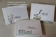 """Snippets: Wetlands with a touch of color (applied with a cotton swab): Supplies (all Stampin' Up!): Stamps: Wetlands: Cardstock: Whisper White note cards and envelopes, scratch piece of 3"""" x 4-1/2"""" cardstock: Ink: Soft Suede (marker and pad), Old Olive, Crushed Curry, Pool Party: Accessories: cotton swabs"""