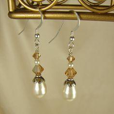 Handmade Beaded Jewelry Topaz Crystal & Faux Pearl Earrings
