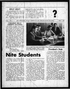 "Page 1 of the first issue of the ""Daily Sundial,"" dated February 1, 1957. Students on campus were invited to participate in a contest in order to come up with a title for the publication."