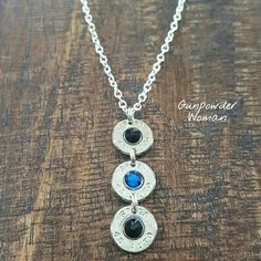 Thin Blue Line Bullet Necklace by Gunpowder Woman GunpowderWoman Bullet Jewelry Back the Blue Police Cops Police Wife Shotgun Shell Crafts, Shotgun Shell Jewelry, Shotgun Shells, Bullet Necklace, Bullet Jewelry, Police Wife Life, Police Family, Police Tattoo, Bullet Crafts