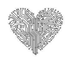 Circuit board heart temporary tattoo