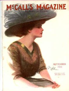 I love the hat on this model from the cover of a 1910 issue of McCall's. Also note the transparent bodice lace with gold trim. Simply scrumptious!