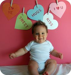 Cute Photo Backdrop, love the candy hearts...next valentines day with baby girl?