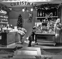 Christmas window display at Foleys in downtown Houston, TX- 1950's...