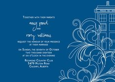 Doctor Who wedding invites!!! I really like these! :) Found them on Esty.