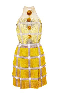 Marco De Vincenzo Silk And Fringe Cady Dress In Yellow by MARCO DE VINCENZO for Preorder on Moda Operandi
