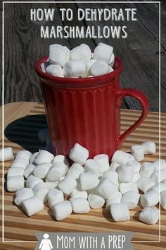 Love those little marshmallows in your hot chocolate in the winter? Are there just never enough? Learn how to make your own! Love those little marshmallows in your hot chocolate in the winter? Are there just never enough? Learn how to make your own! Canning Food Preservation, Preserving Food, Coconut Dessert, Canned Food Storage, Long Term Food Storage, Dehydrated Food, Dehydrator Recipes, Canning Recipes, Canning Tips