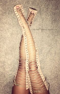 I have to be able to think of at least 2-3 outfits before I buy a pair of shoes... what would you pair these nude thigh high lace ups with? <3