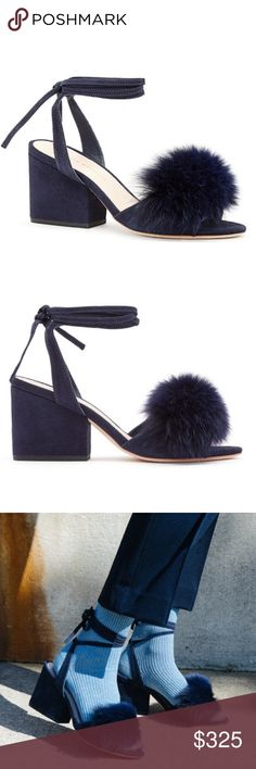 Loeffler Randall Chunky Navy Suede Heel w Fox Fur Ankle-tie chunky heel sandal in eclipse navy kid suede with fox fur 2.8in / 70mm heel and leather sole. Comes with dust bag! Loeffler Randall Shoes Heels