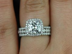 engagement ring, wedding band, and eternity band