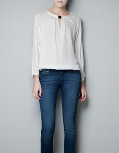 BLOUSE WITH JEWELLED NECKLINE - Shirts - Woman - ZARA United States