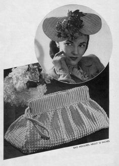 Handbag Purse and Hat  1940s Vintage Pattern by HipChickCrochet, $1.99