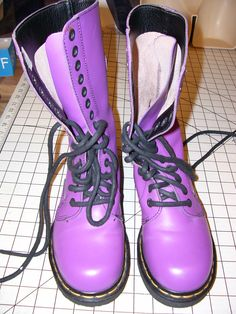 RARE Purple Pink DOC MARTENS Women's Boots Size 8 US 6 UK $189.99 at Tweety7777