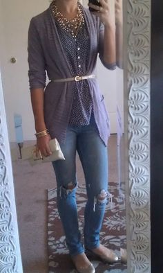 button down under long cardian with skinny belt and necklace. formula