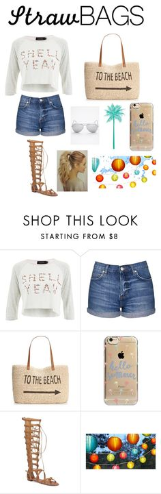 """""""Straw bags 2"""" by harlowmorris ❤ liked on Polyvore featuring MINKPINK, Topshop, Style & Co., Agent 18, Vince Camuto, Free People and strawbags"""