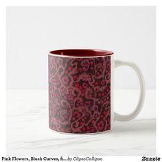 Pink Flowers, Blush Curves, fiber art felt pattern Two-Tone Coffee Mug