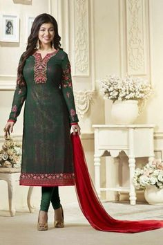Ayesha Takia Featuring Embroidery Work On Georgette Green Party Wear Straight Cut Suit