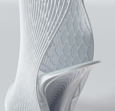 Lace like texture in a flexible plastic 3D printed shoe - detail of Ross Lovegrove's design for United Nude