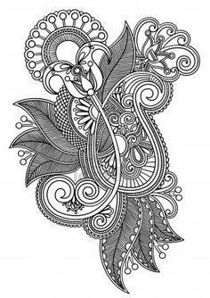 Hand draw line art ornate flower design. Ukrainian traditional style.