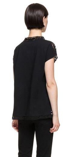 READY TO WEAR Ikat crochet t-shirt IKAT DOTS BLACK
