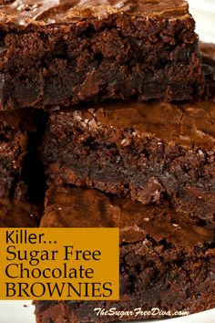 Brownie recipes 601371356480818525 - This is the recipe for the best (Killer…) Sugar Free Chocolate Brownies KILLER SUGAR FREE Chocolate BROWNIES! YUM- the best tasting brownie recipe that also has no added sugar in it. Source by gelinkusagi Sugar Free Deserts, No Sugar Desserts, Sugar Free Sweets, Sugar Free Cookies, Low Sugar Recipes, No Sugar Foods, Sugar Free Snacks, Sugar Free Biscuits, Stevia Desserts